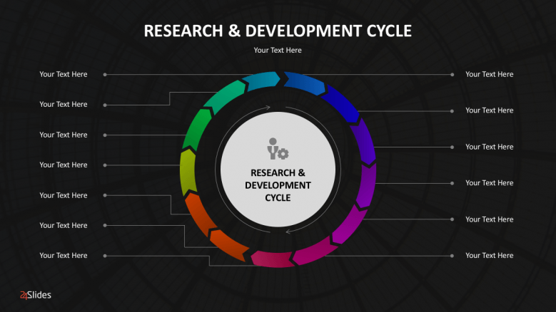 Colorful research and development cycle slide
