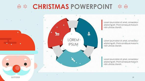 christmas themed presentation in circle chart with creative santa illustration