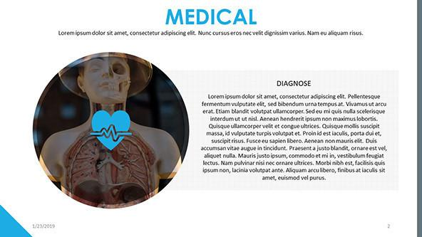 medical introduction slide in text with human skeleton image