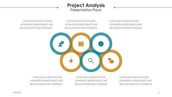 project analysis slide with text and six infographics circles