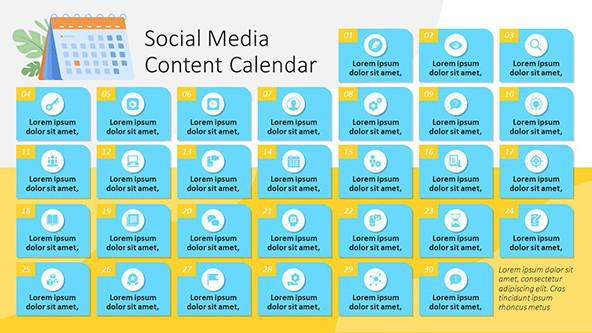 Social Media Content Calendar Template in playful style