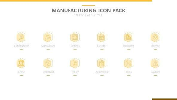 manufacturing icons in corporate style