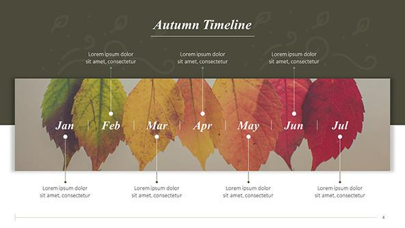 Autumn monthly Timeline with fall leaves as background