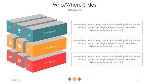Who and where slides in three 3D blocks segments with icons and text