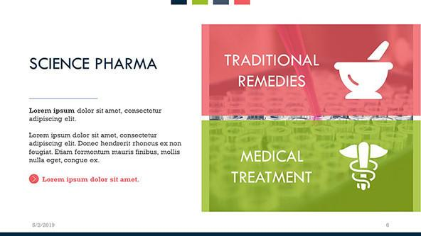 Science pharma slide with key points of traditional remedies and medical treatment