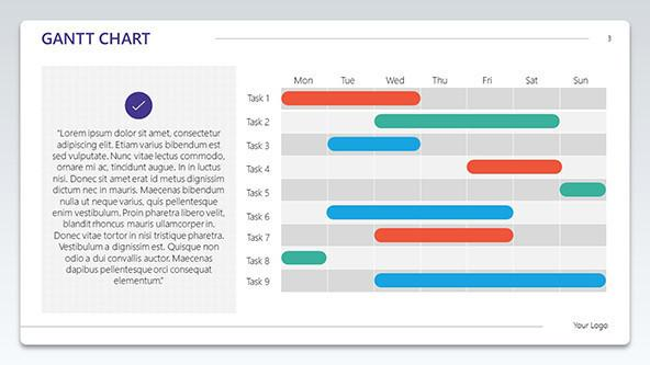 gantt chart with description box