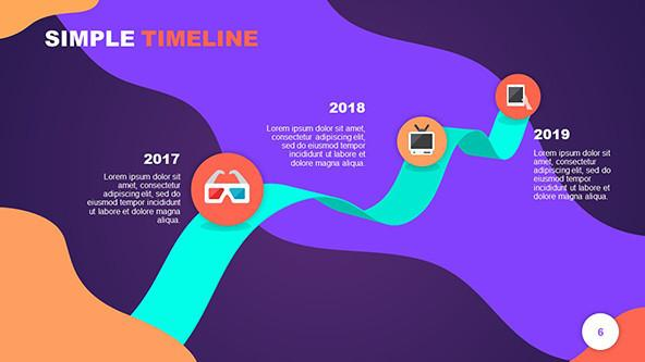 New Year Achievements Timeline in playful style with media icons