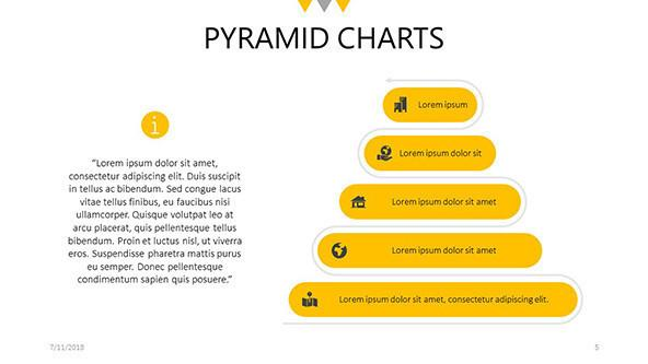 Five steps flat pyramid slide with text