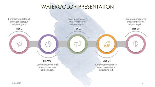 Horizontal five steps timeline with watercolor background
