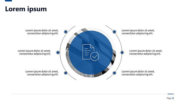 Blue circle diagram for a project status report presentation