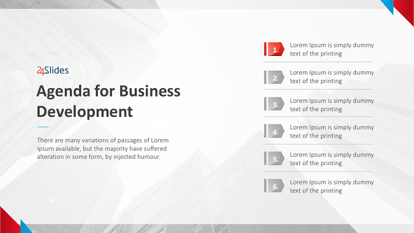 Business development agenda slide