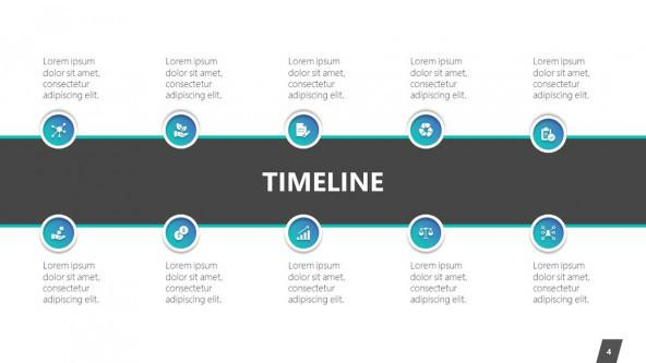 Timeline chart in 10 time segments with comment box