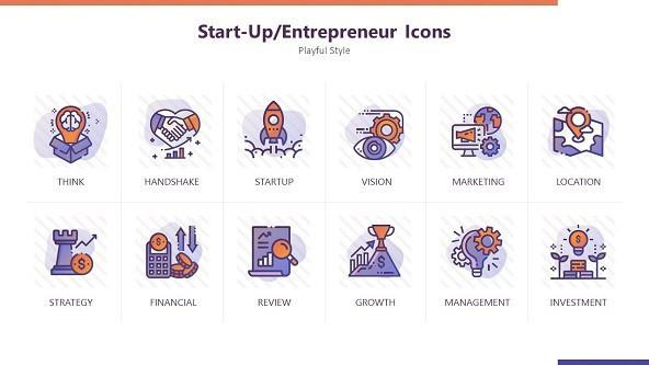 FREE Playful Icons for Start-up Entrepreneur PowerPoint Template