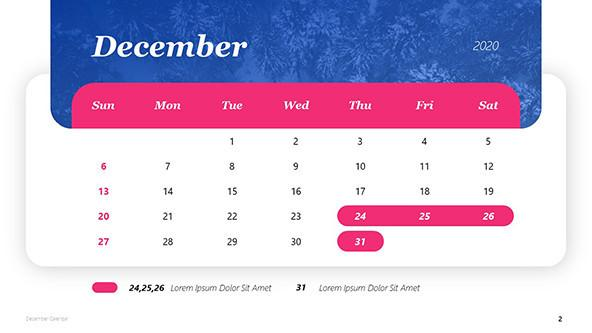 FREE December Calendar Template in PowerPoint PowerPoint Template