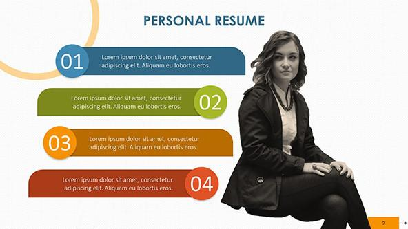 creative personal resume with four key points and picture