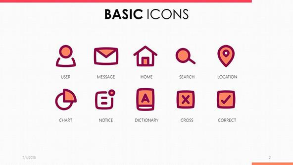 basic icons in pink and purple