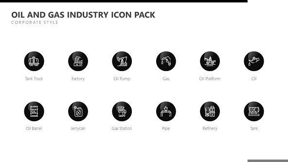 oil and gas industry icons in black and corporate style
