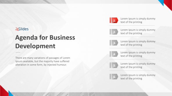Agenda for Business Development Slide