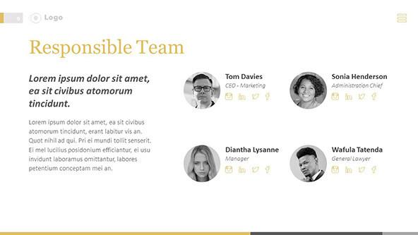 Team's roles and responsibilities slide