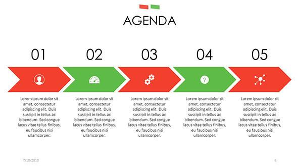 agenda slide in process chart with icons and description text