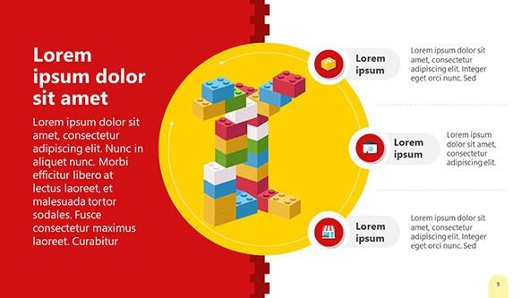 Lego blocks PowerPoint Slide