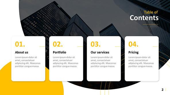Creative Table of Contents for a corporate presentation
