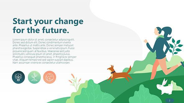 playful design environmental overview slide with text and illustration