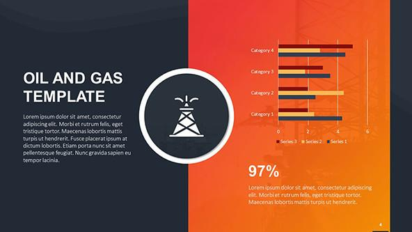 Bar charts by categories in a oil-and-gas-themed template