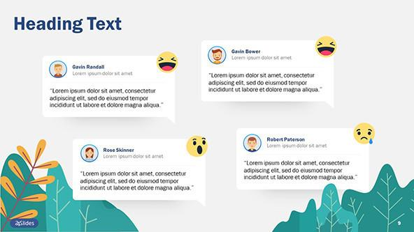 Text slide for social listening featuring comments and reaction icons