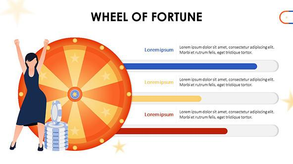 Wheel of fortune with colorful progress bars