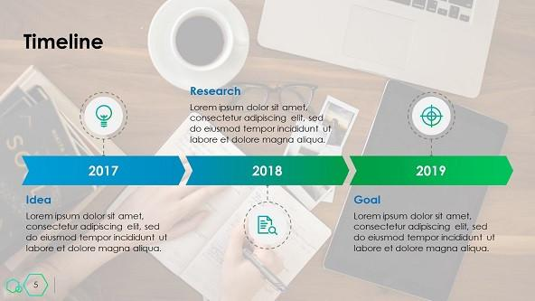 creative yearly timeline slide with text description