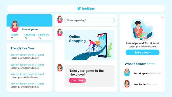 Twitter-theme PowerPoint Template for a Twitter campaign marketing presentation