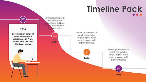 Timeline chart presentation in stair diagram with creative illustration