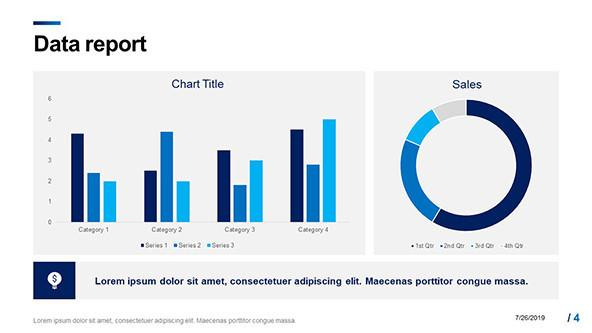 Corporate Data report slide with column charts and doughnut chart in blue
