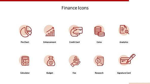 Finance icons in corporate style