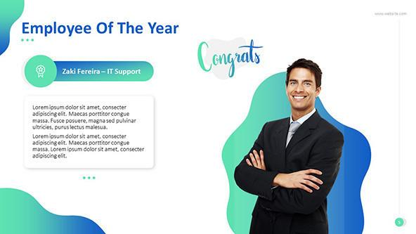 Employee of the year creative slide with image and text