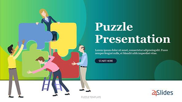 Playful puzzle presentation template with illustrations