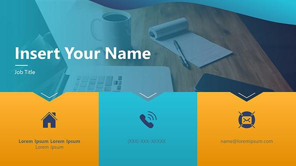 Creative Business Card Template with colorful sections for contact information