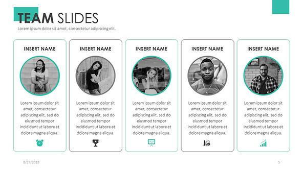 team slides in five column with circle icons