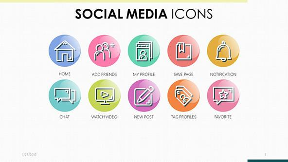 colorful social media icons in corporate style