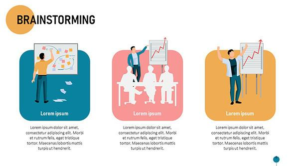 Brainstorming session process colorful slide in playful style with illustrations