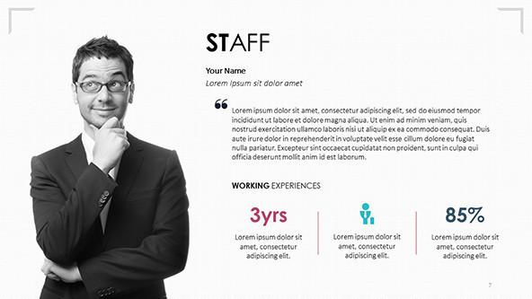 7s framework staff profile slide with text and image