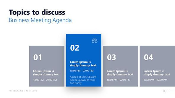 Corporate Meeting Agenda Slide for topics to discuss